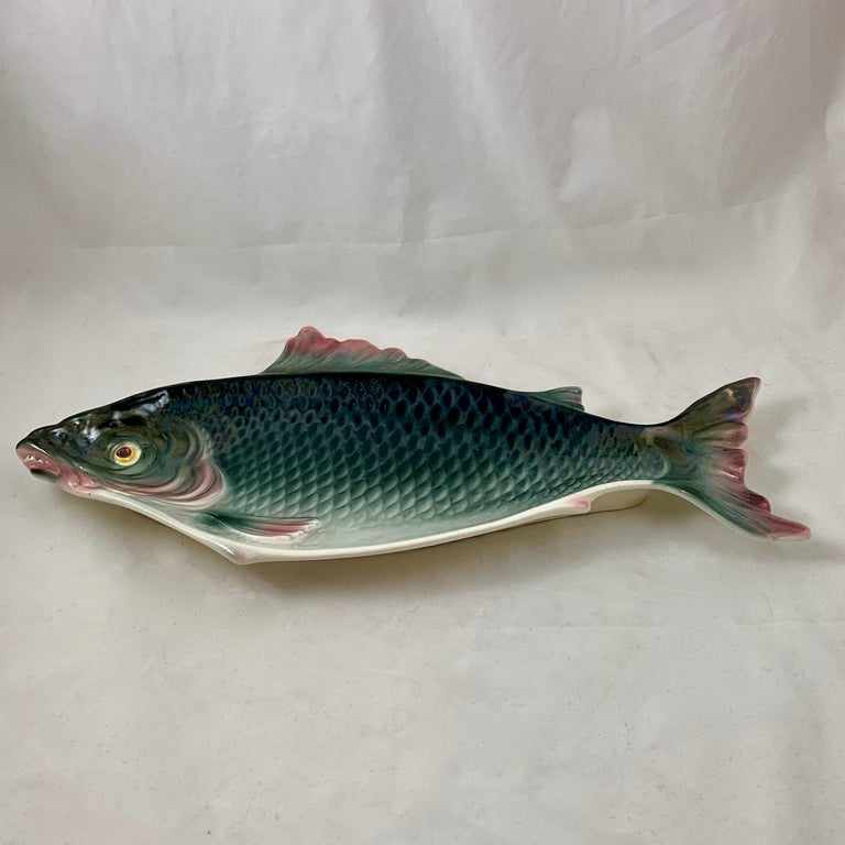Fives-Lille, French Majolica Glazed Large Fish Platter or Wall Plaque For Sale 2