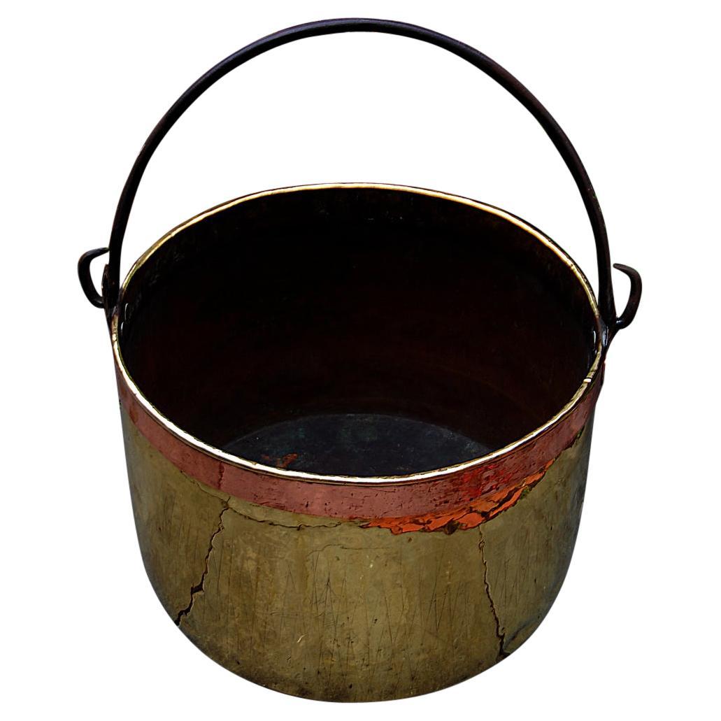 Continental Mid 19th Century Brass Cauldron with Iron Swing Handle