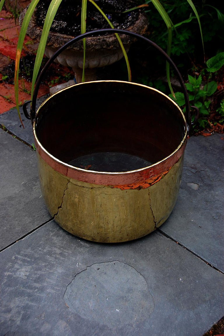 French Provincial Continental Mid 19th Century Brass Cauldron with Wrought Iron Handle For Sale