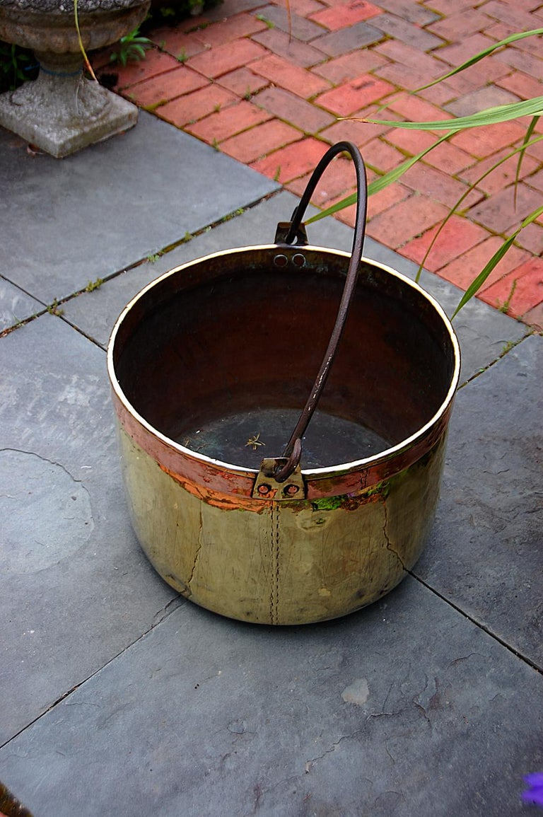 French Continental Mid 19th Century Brass Cauldron with Wrought Iron Handle For Sale
