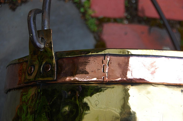 Copper Continental Mid 19th Century Brass Cauldron with Wrought Iron Handle For Sale