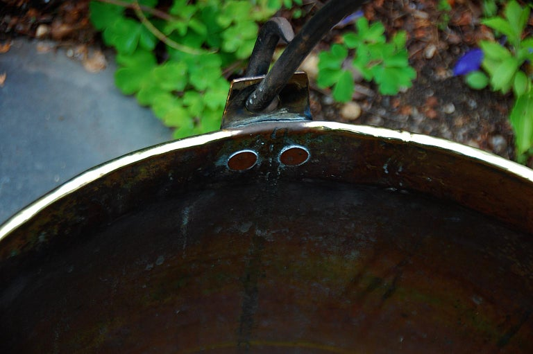 Continental Mid 19th Century Brass Cauldron with Wrought Iron Handle For Sale 2