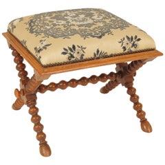 Continental Napoleon III Style Walnut Bench
