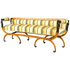 Continental Neoclassic Fruitwood and Ebonized Settee