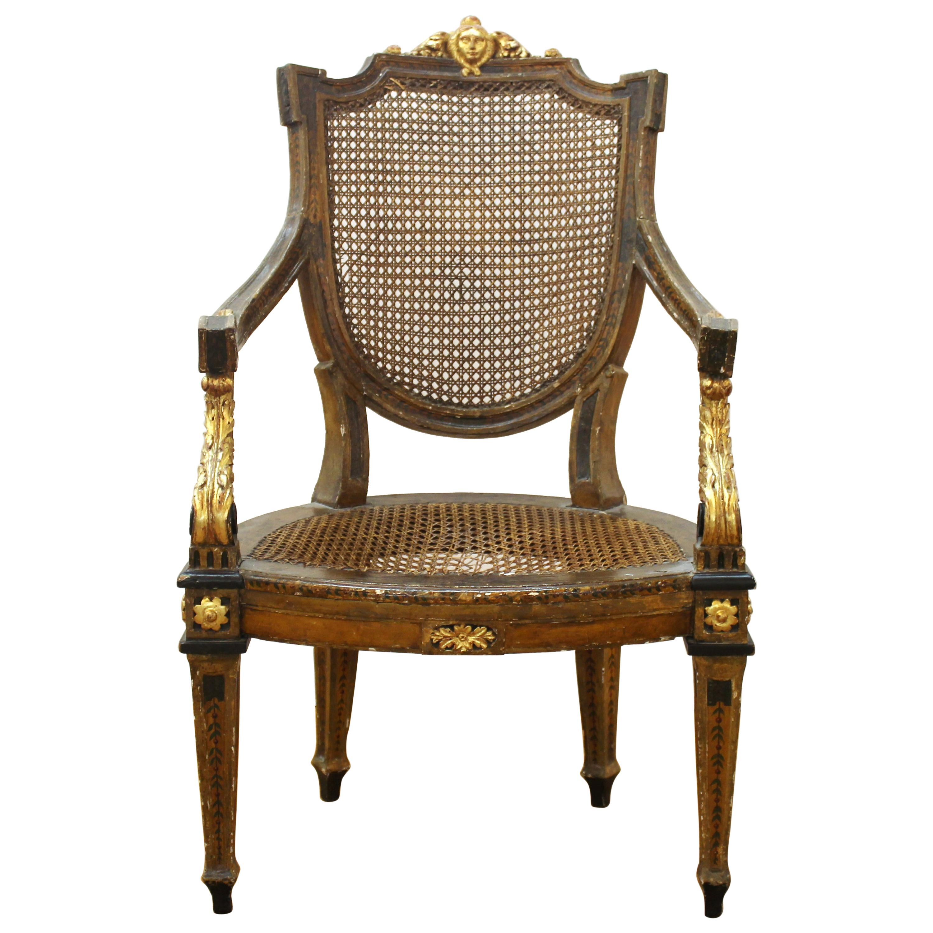 Continental Neoclassical Masque Carved & Parcel Gilt Arm Chair