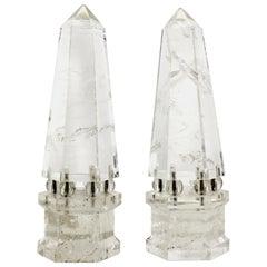 Continental Neoclassical Rock Crystal Obelisks on Rock Crystal Balls