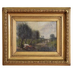 Continental Oil on Canvas, Cows Grazing at River, 19th Century