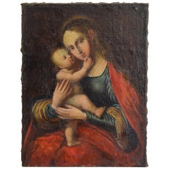 Continental Oil on Canvas, Madonna and Child, Late 17th to Early 18th Century