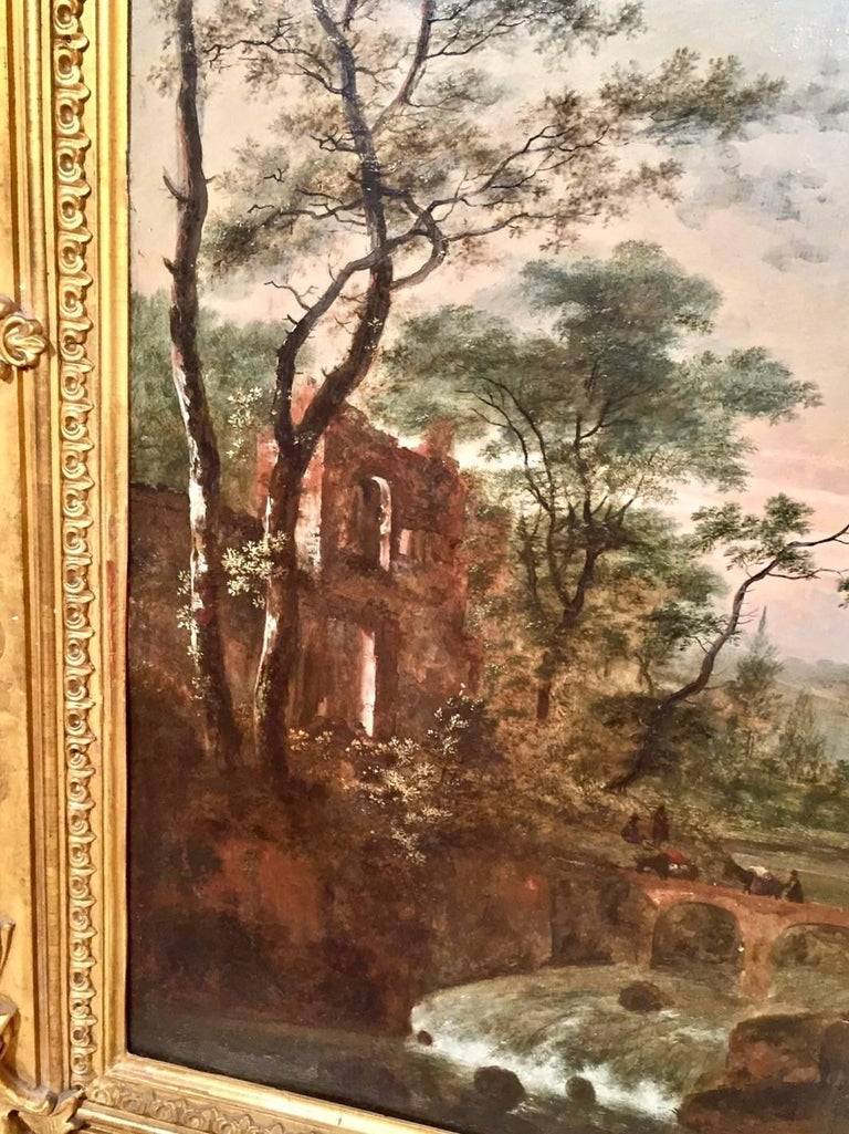 Dutch Continental Oil on Cradled Wooden Panel Landscape in Gilt Frame For Sale