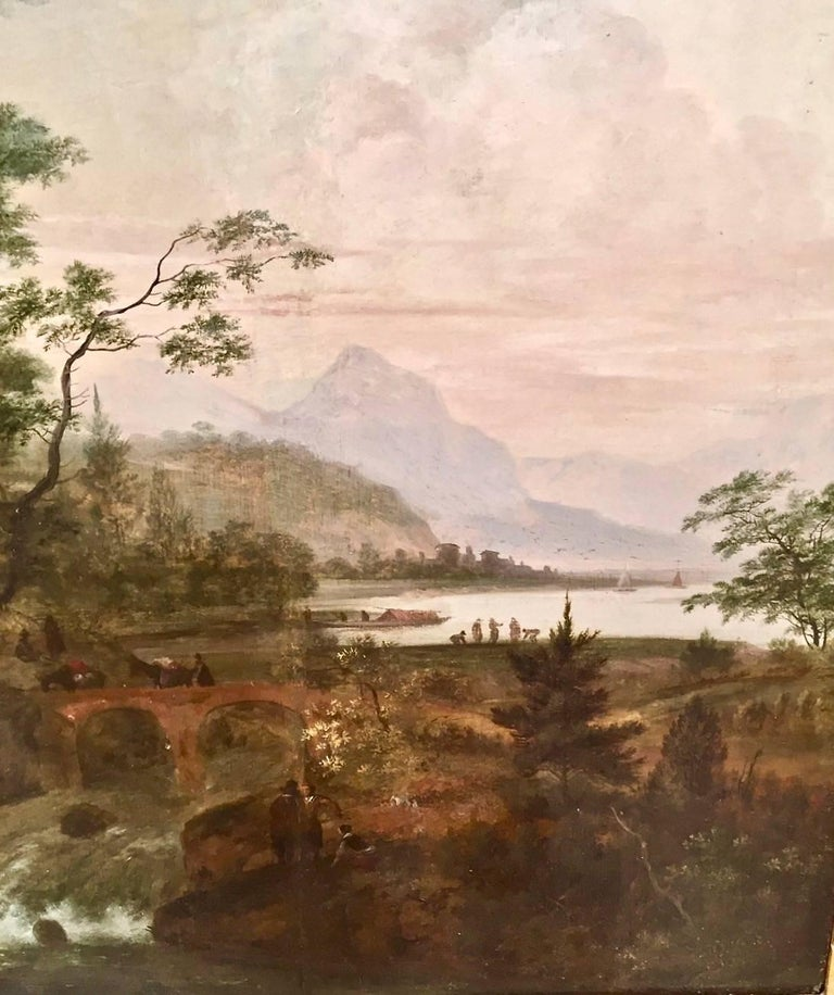 19th Century Continental Oil on Cradled Wooden Panel Landscape in Gilt Frame For Sale
