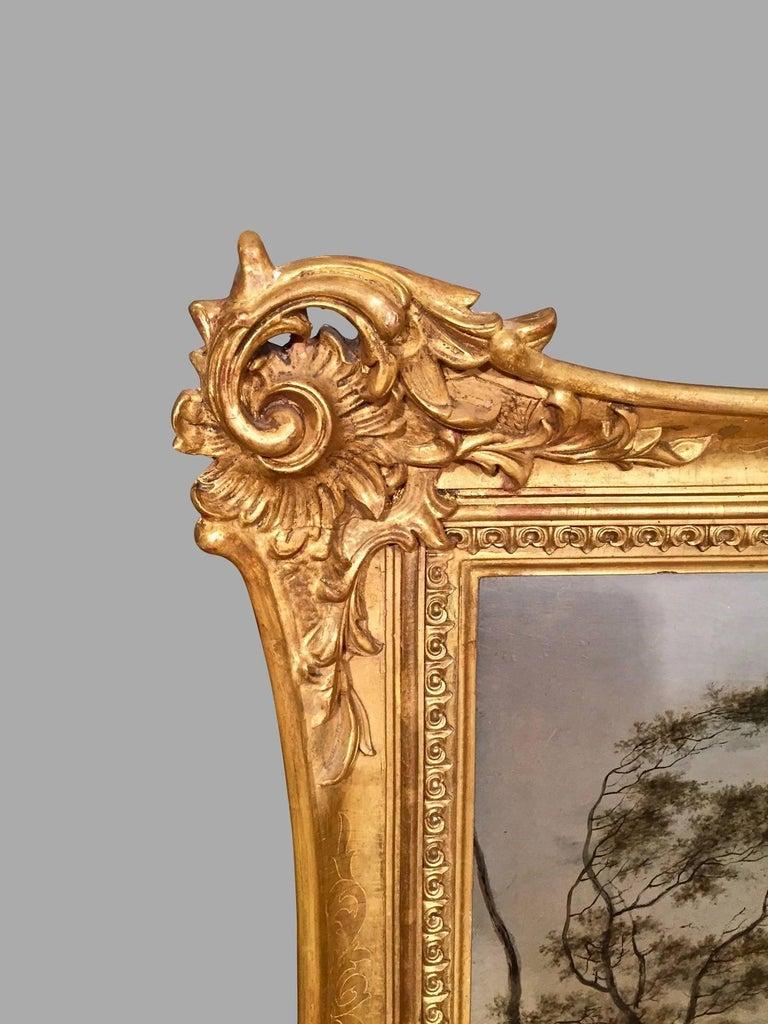 Giltwood Continental Oil on Cradled Wooden Panel Landscape in Gilt Frame For Sale