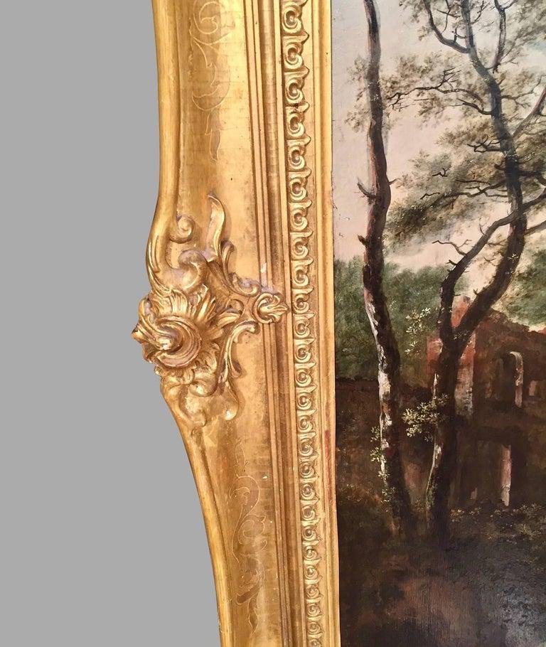 Continental Oil on Cradled Wooden Panel Landscape in Gilt Frame For Sale 1