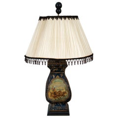 Continental Painted Tole Lamp with Dark Blue Ground