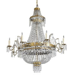 Continental, Possibly Swiss, Incised Brass and Glass 8-Light Chandelier