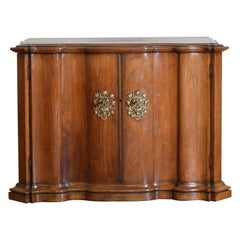 Continental Rococo Style Walnut Serpentine Front 2-Door Cabinet, Early 20th Cen