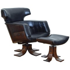 Continental Rosewood and Leather Upholstered Armchair and Ottoman