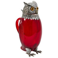 Spanish Ruby Glass and Silver Owl Claret Jug, circa 1900