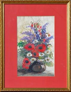Delphinium, Daisies and Gerbera Daisies Bouquet
