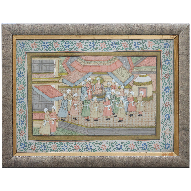 "Continental School 19th-20th Century ""Hindu Gathering"" Watercolor on Silk"