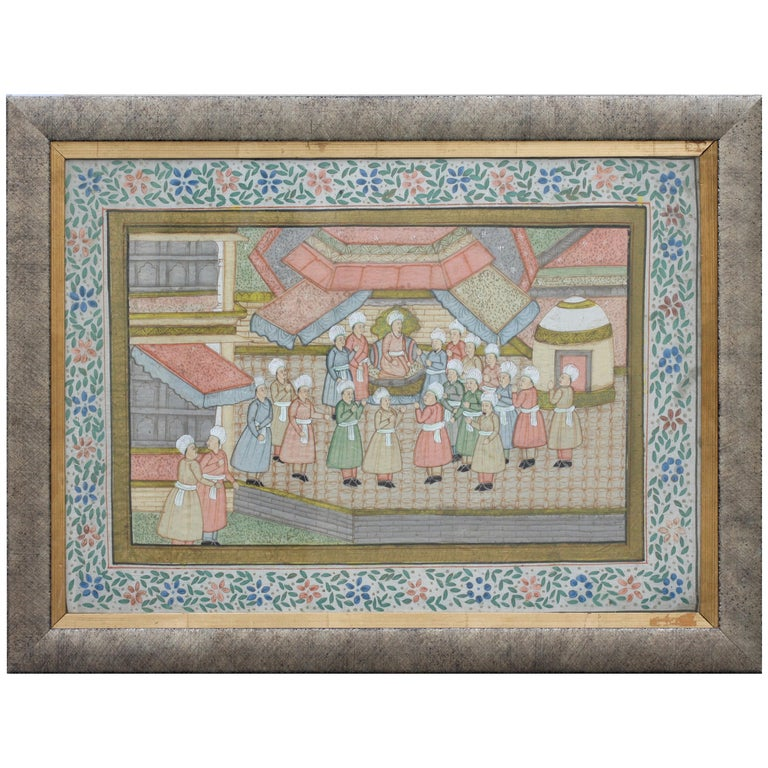 """Continental School 19th-20th Century """"Hindu Gathering"""" Watercolor on Silk For Sale"""