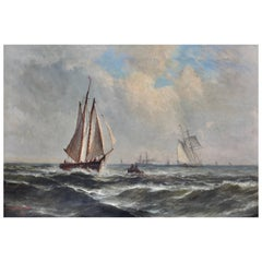 """Continental School 19th Century """"Ships in A Stormy Sea"""""""