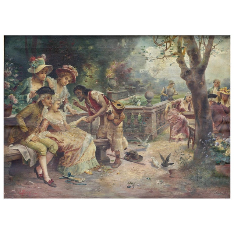 """Continental School, 20th Century Oil on Canvas """"The Fortune-Teller"""" For Sale"""