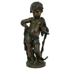 Continental School Bronze Figure of a Boy Fishing