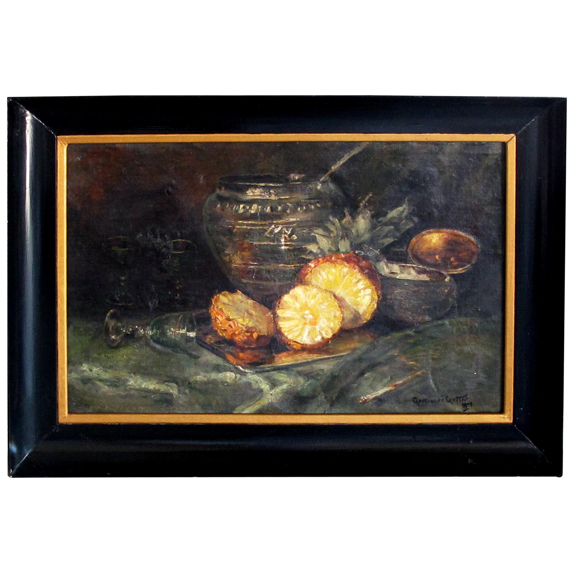 Continental School, Oil on Canvas, Still Life with Pineapple