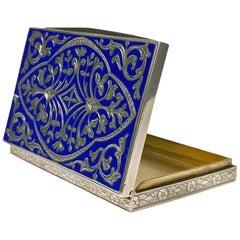 Continental Silver and Royal Blue Enamel Box, circa 1920