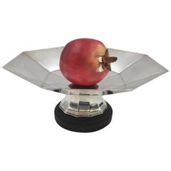 Continental Silver and Wood Centerpiece Stand Bowl in Mid-Century Modern Style