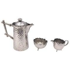 Continental Silver Demitasse Tea / Coffee Set by Hugo Böhm in Bauhaus Style