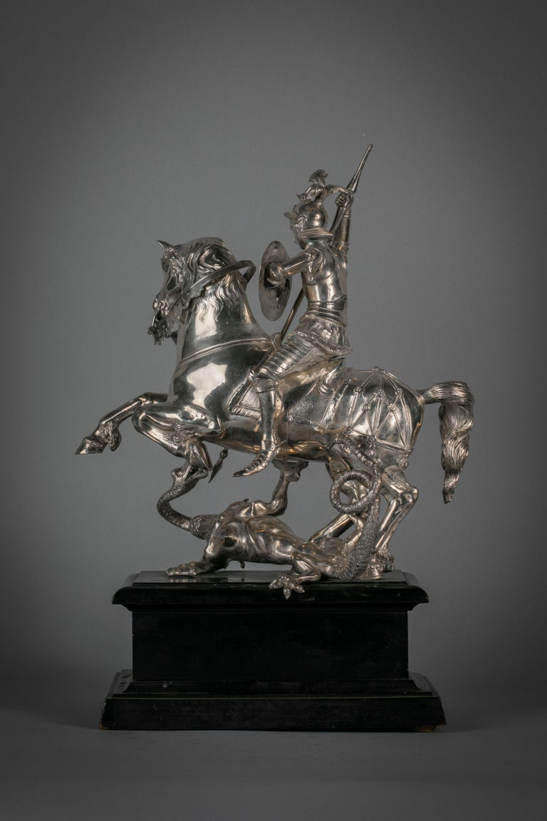 Continental Silver Figural Group of St. George and the Dragon, circa 1860 In Good Condition For Sale In New York, NY