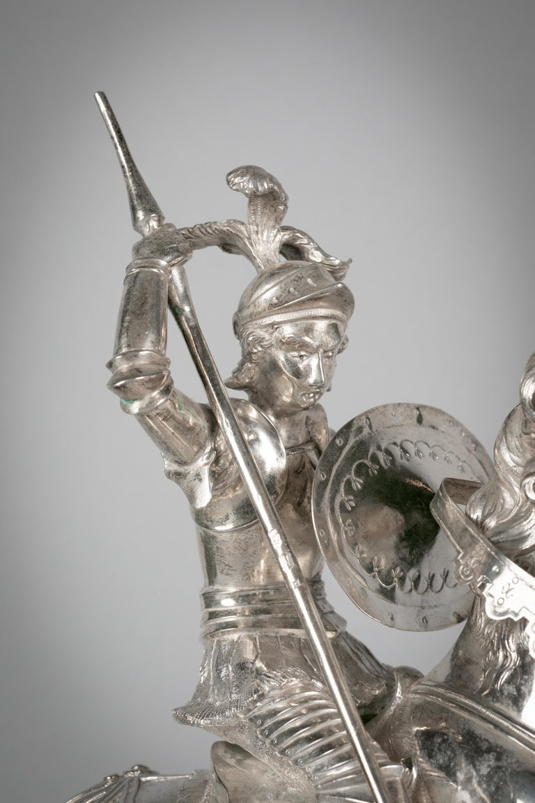 Continental Silver Figural Group of St. George and the Dragon, circa 1860 For Sale 2