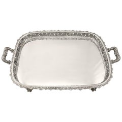 Continental Silver Tea Tray, Antique, circa 1920