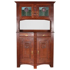 Continental Solid Oak Arts & Crafts Period Buffet with Stained Glass