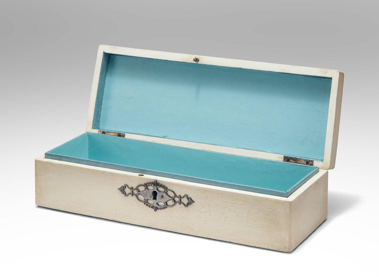 Austrian Continental Steel Decorated White Painted Spa Box For Sale