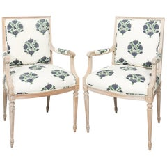 Continental Style Square Back Armchairs