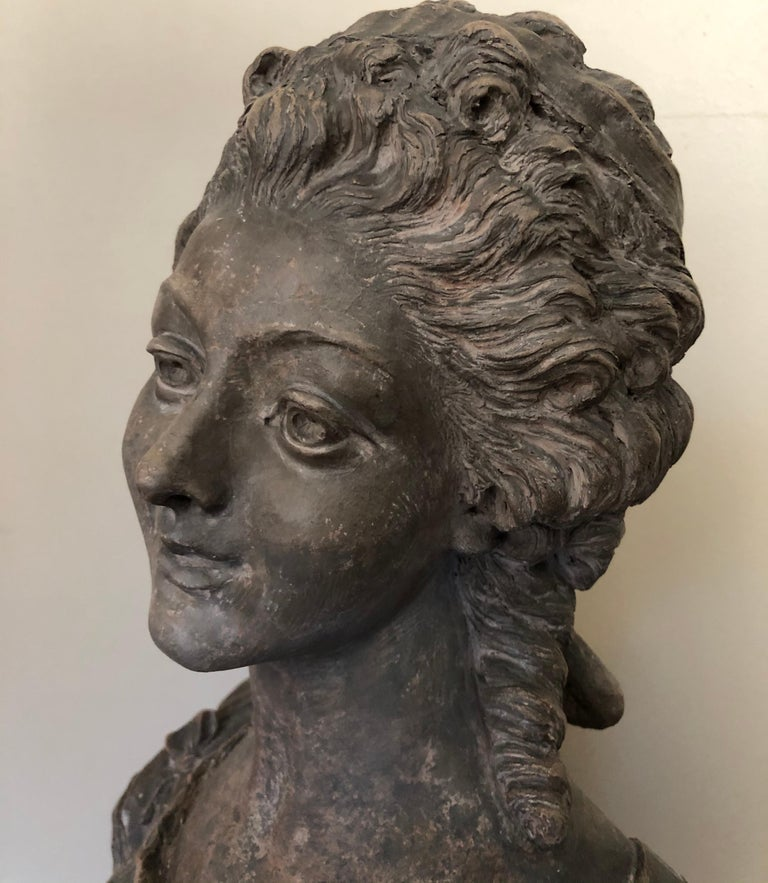 The sculpture is in excellent condition, possibly French circa 1900. There is a small chip on the pedestal base, but it is not noticeable and does not distract from the overall appeal.