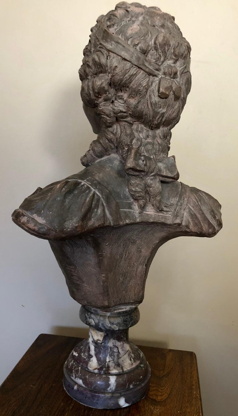 Rococo Continental Terracotta Bust of a Woman on Marble Base For Sale