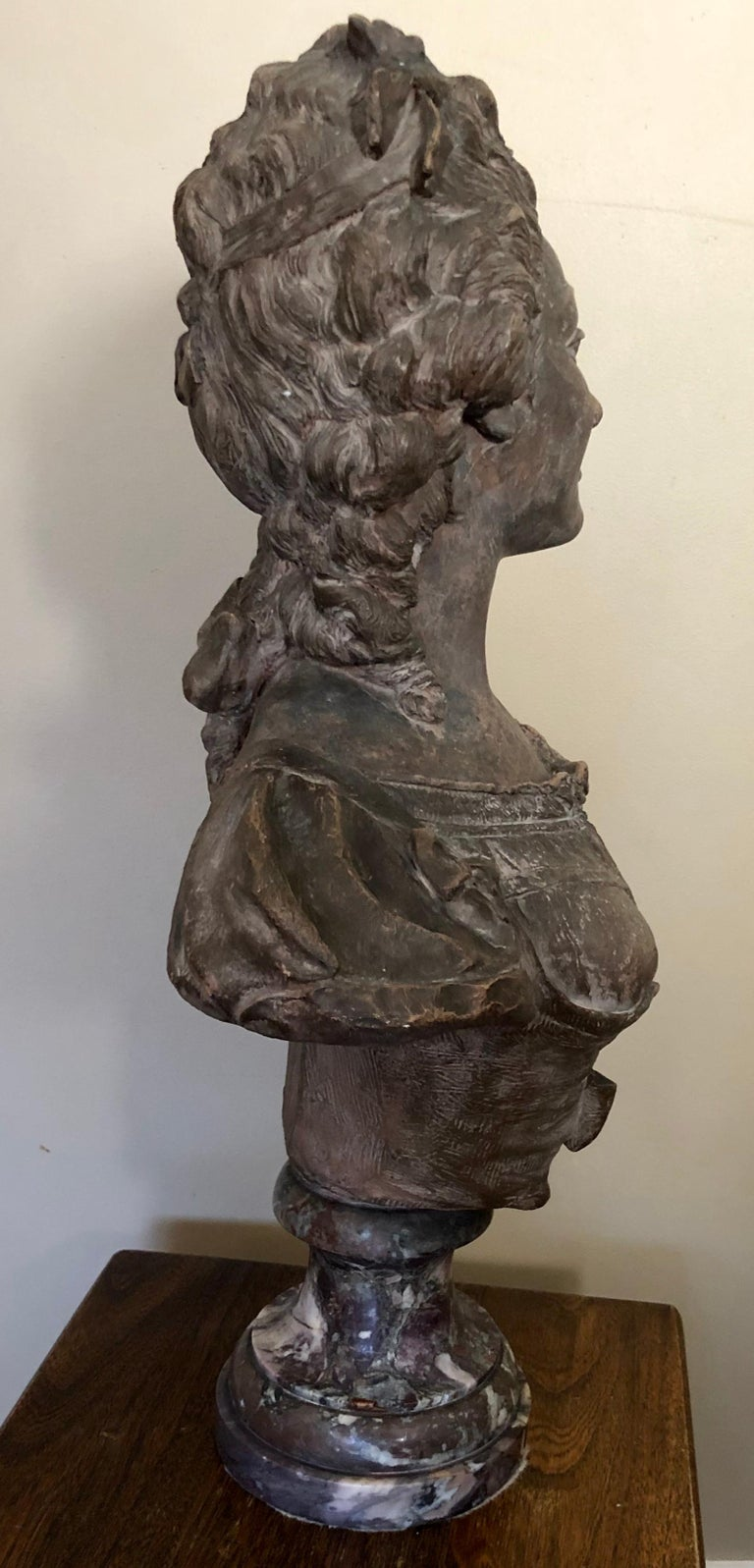 French Continental Terracotta Bust of a Woman on Marble Base For Sale
