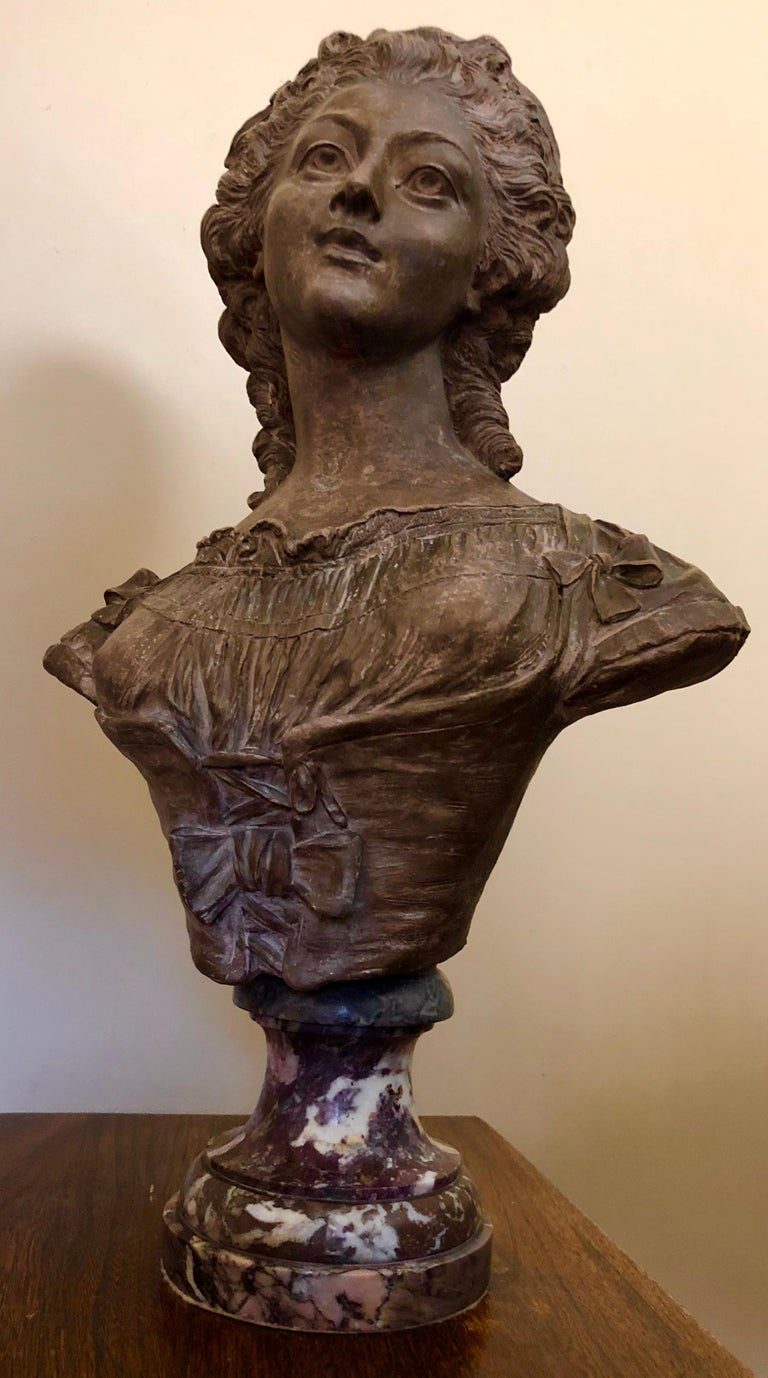 Continental Terracotta Bust of a Woman on Marble Base In Good Condition For Sale In Boulder, CO