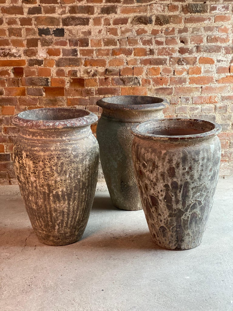 Continental Terracotta Garden Urns Reclaimed Distressed Outdoor Planters For Sale 5