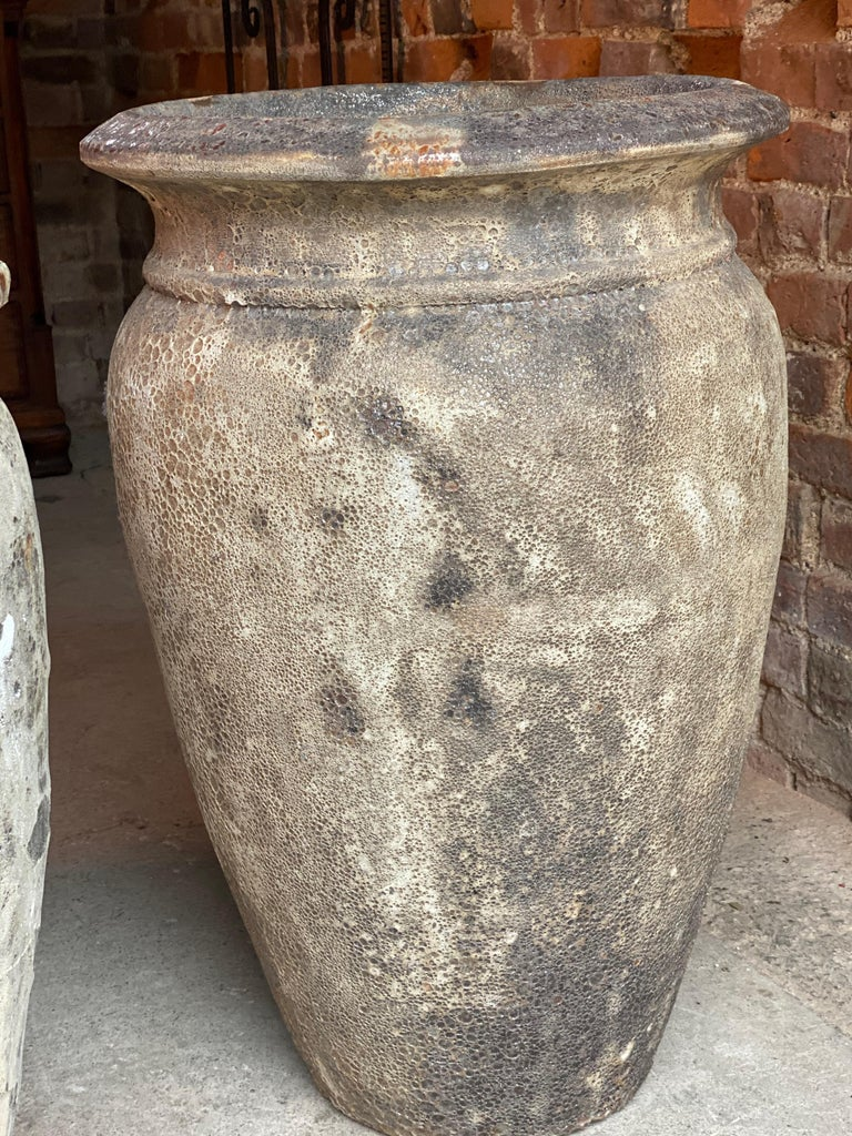 Continental Terracotta Garden Urns Reclaimed Distressed Outdoor Planters In Good Condition For Sale In Longdon, Tewkesbury