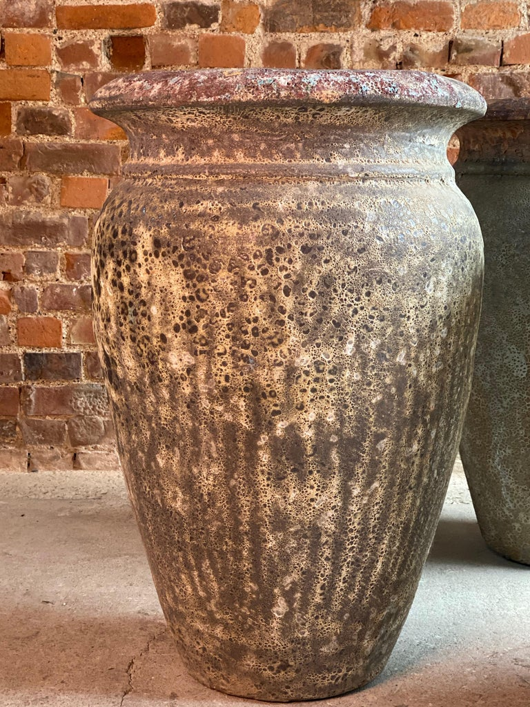 Continental Terracotta Garden Urns Reclaimed Distressed Outdoor Planters For Sale 1