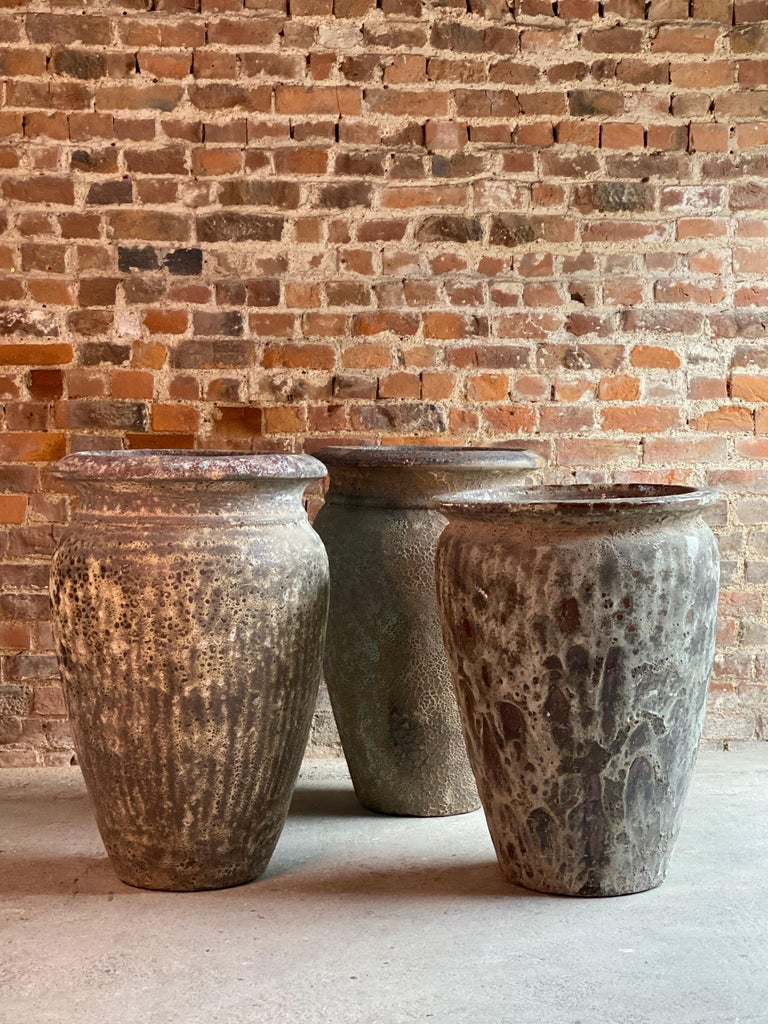 Continental Terracotta Garden Urns Reclaimed Distressed Outdoor Planters For Sale 2