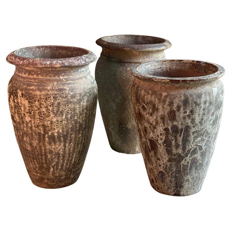Continental Terracotta Garden Urns Reclaimed Distressed Outdoor Planters For Sale