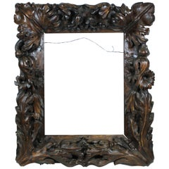Continental Tropical Baroque Master Carver Wood Frame with Heavy Carved Foliage