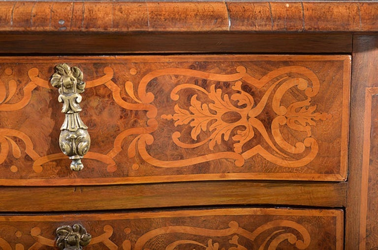 Continental Walnut and Satinwood Marquetry Cabinet For Sale 1