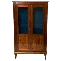 Continental Walnut Armoire with Glass Doors