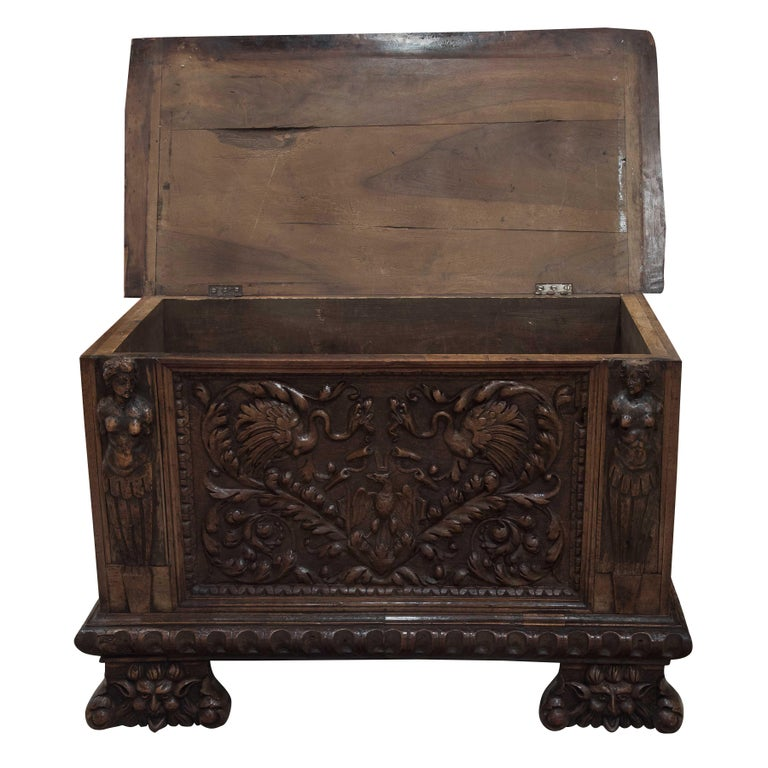 European Continental Walnut Coffer For Sale
